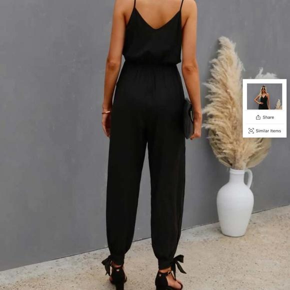 Black Jumpsuit with Slit Leg